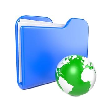Carpeta azul con globo terráqueo verde. aislado en blanco.
