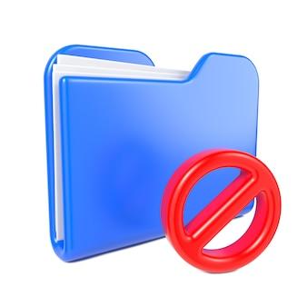 Carpeta azul con señal de stop roja. aislado en blanco.