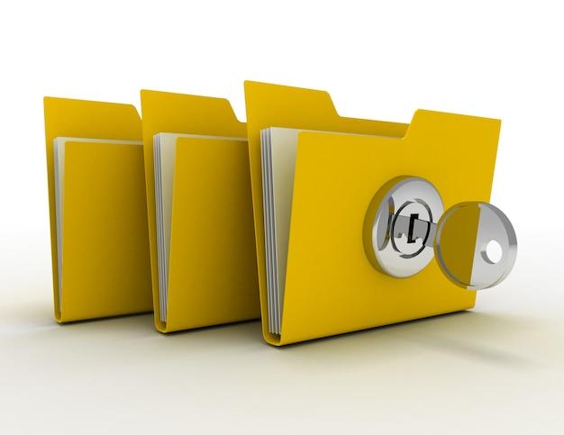 Carpeta de computadora con llave. ilustración 3d