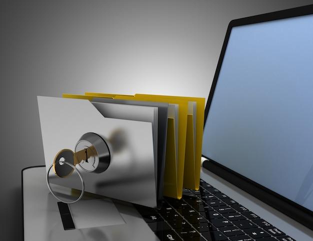 Carpeta y llave de la oficina 3d en la computadora portátil. ilustración 3d
