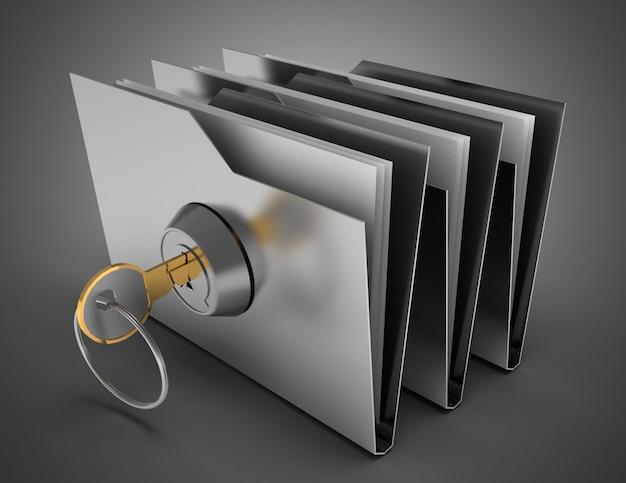 Carpeta y llave de la oficina 3d. ilustración 3d