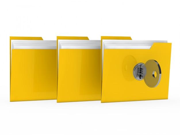 Carpetas amarillas cerradas con llave