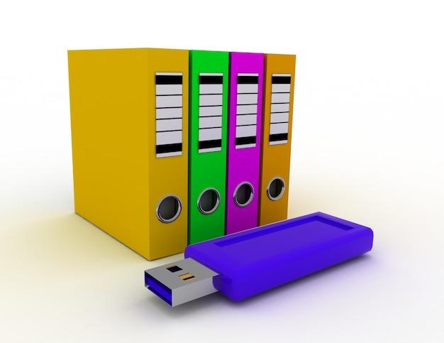 Carpetas de anillas de oficina con memoria usb azul. concepto de ahorro de datos 3d