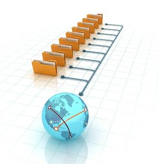 Carpetas de computadora con globe world
