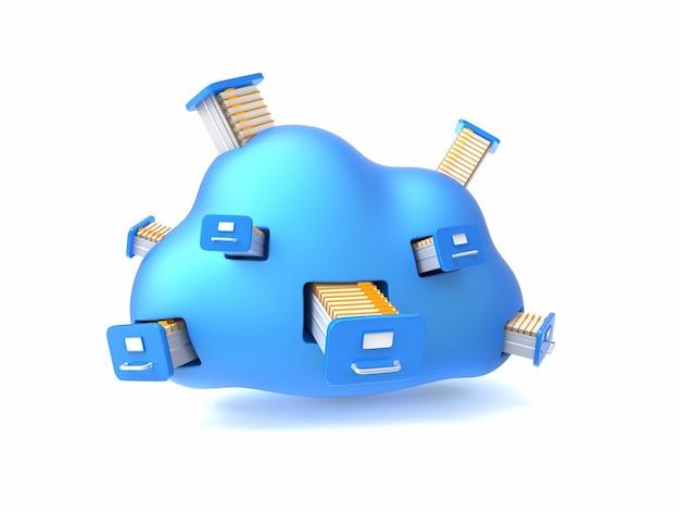 Carpetas con documentos en la nube azul aislado en blanco