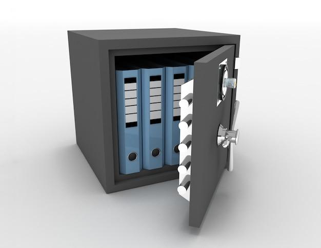 Carpetas de oficina en una caja fuerte metálica abierta. 3d rindió la ilustración Foto Premium