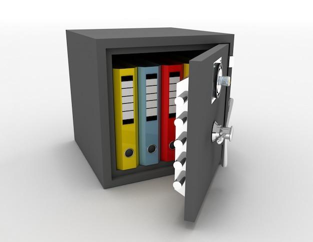 Carpetas de oficina en una caja fuerte metálica abierta. 3d rindió la ilustración