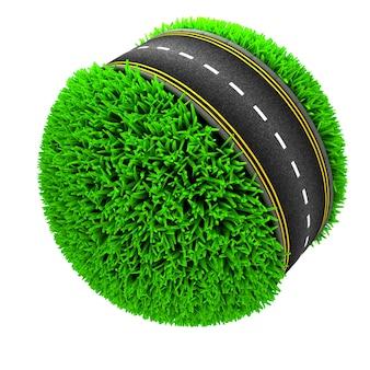 Carretera alrrededor de una esfera de césped