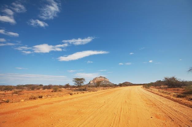 Carretera amarilla en la sabana africana, kenia
