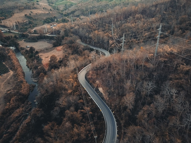 La carretera y los árboles por la noche desde arriba, viajes de verano