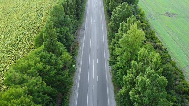 Carretera asfaltada fuera de la ciudad con tráfico de alta velocidad. vuelo de drones sobre la carretera y los árboles.