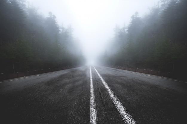 La carretera asfaltada pasa por una brumosa oscuridad.