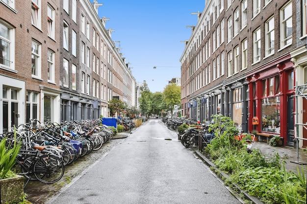Carretera asfaltada recta entre casas de ladrillo envejecido con arquitectura tradicional y bicicletas estacionadas en la acera en un día soleado de verano en la ciudad de amsterdam