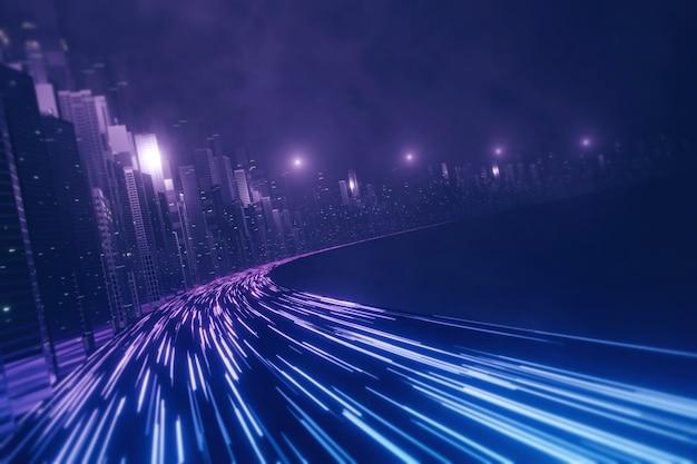 Carretera futurista que atraviesa mega ciudad
