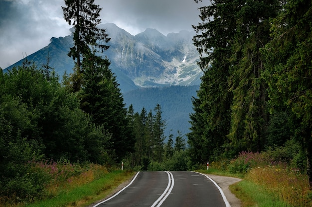 Carretera de montaña a lysa polana y morskie oko, altas montañas tatra, polonia