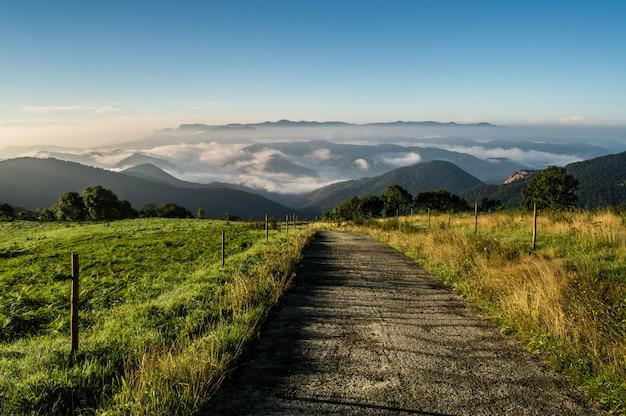 Carretera de montaña con vista a la niebla