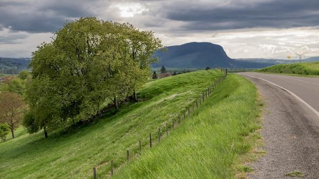 Carretera rodeada de campos verdes y montañas bajo el cielo sombrío