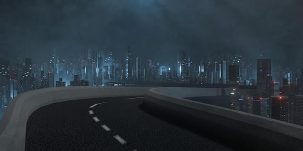 Carretera y vista a la ciudad por la noche.