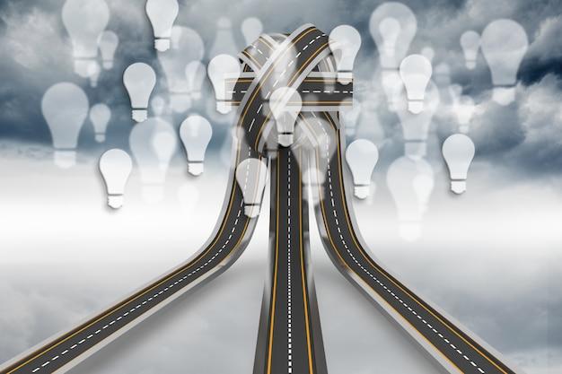 Carreteras que van a un nudo de bombillas