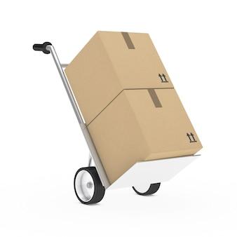 Carretilla con dos cajas de cartón