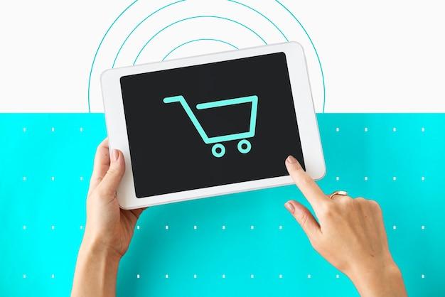 Carrito de compras comercio icono de símbolo gráfico