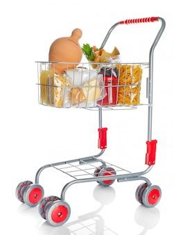 Carrito de compras lleno con caja de dinero y productos alimenticios.