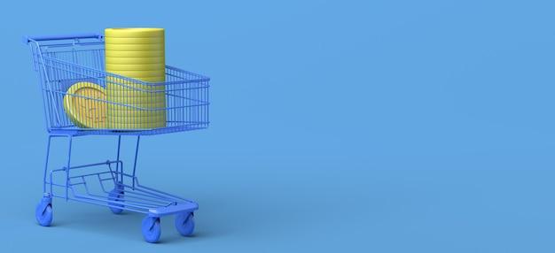 Carrito de compras lleno de dinero con el símbolo de bitcoin cryptocurrencies ilustración 3d copie el espacio