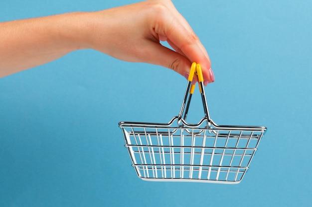 Carrito de compras en mano en blanco y azul