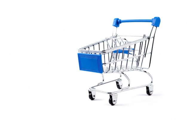 Carrito de compras plateado y azul