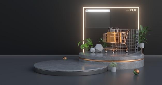 El carrito de compras está en un podio de concreto y tiene un ícono de sitio web iluminado con neón en la parte posterior.