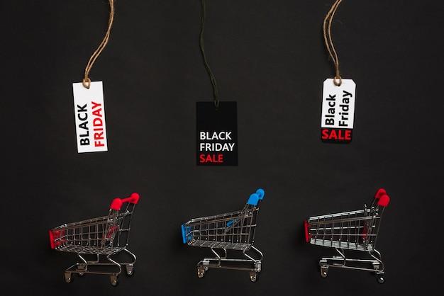 Carritos y etiquetas de compra con venta de títulos.