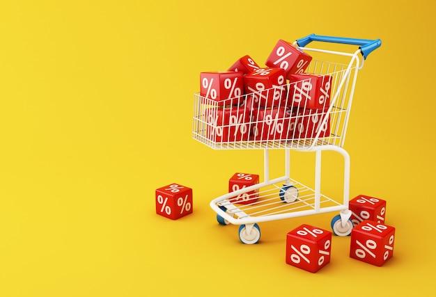 Carro de la compra 3d con cubos de descuento.