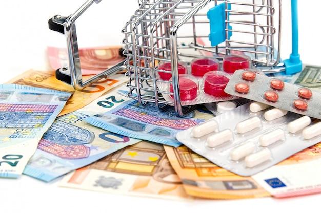 Carro de compras aislado lleno de medicina con píldoras y cápsulas y billetes en euros.