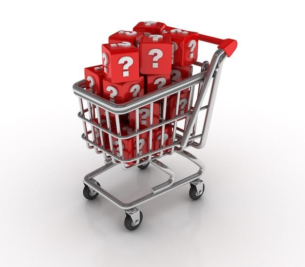 Carro de compras con bloques de signos de interrogación