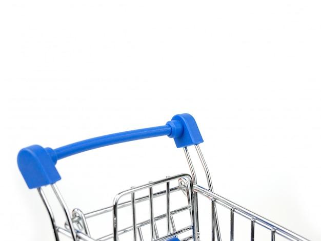 Carro de compras, carro de empuje aislado en blanco