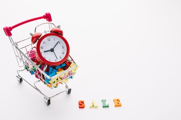 Carro de compras con concepto de gestión del tiempo