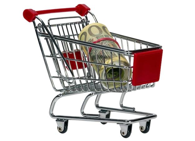 Carro de compras con dinero aislado sobre fondo blanco.