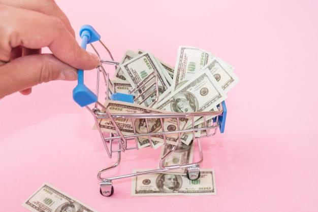 Carro de compras con dólares sobre un fondo rosa. la mano empuja el carrito de juguete. concepto de compras