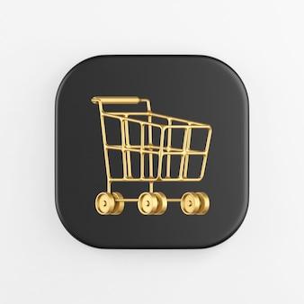 Carro de compras dorado en icono de ruedas. representación 3d del botón de tecla cuadrado negro, elemento de interfaz de usuario ux de interfaz.