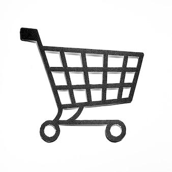 Carro de compras de papel negro