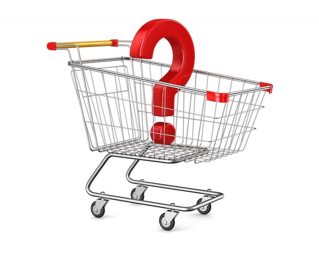 Carro de compras y pregunta sobre espacios en blanco. ilustración 3d aislada