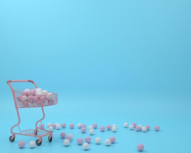Carro de compras rosa con bola en fondo azul pastel