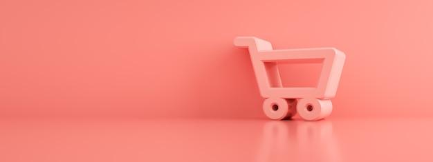 Carro de compras sobre fondo rosa, maqueta panorámica, render 3d