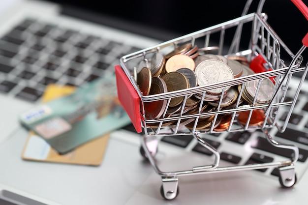 Carro con monedas y tarjetas de crédito en computadora, idea para compras y pago en línea