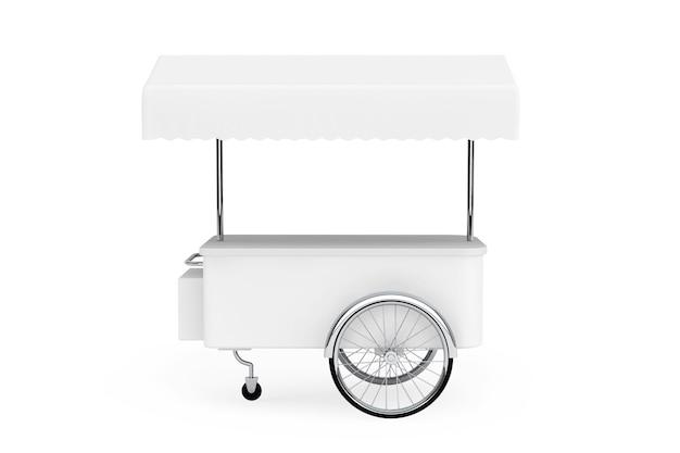Carro de promoción en blanco y toldo sobre un fondo blanco.