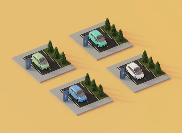 Carros eléctricos 3d de alto ángulo y estaciones de carga
