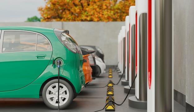 Carros eléctricos 3d que se cargan en el estacionamiento