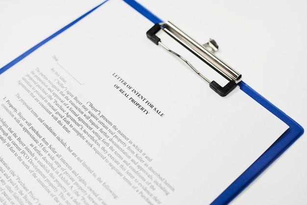 Carta de intenciones para la venta de bienes inmuebles