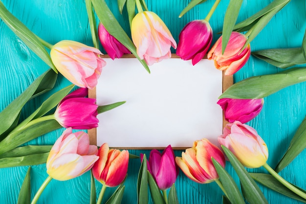 Carta de marco alrededor de tulipanes