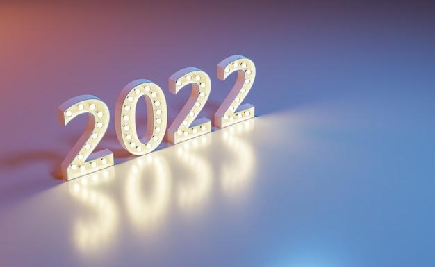 Cartel de año nuevo 2022 con bombillas